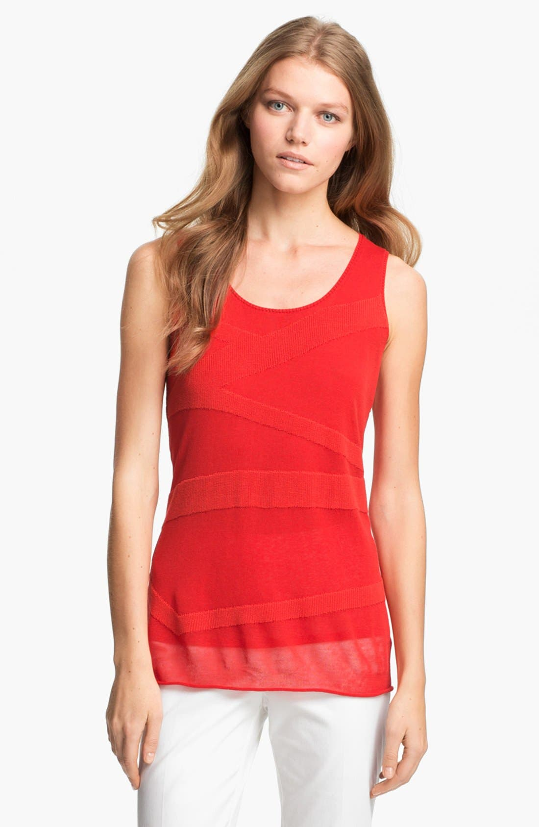 Main Image - Lafayette 148 New York Zigzag Texture Layered Tank