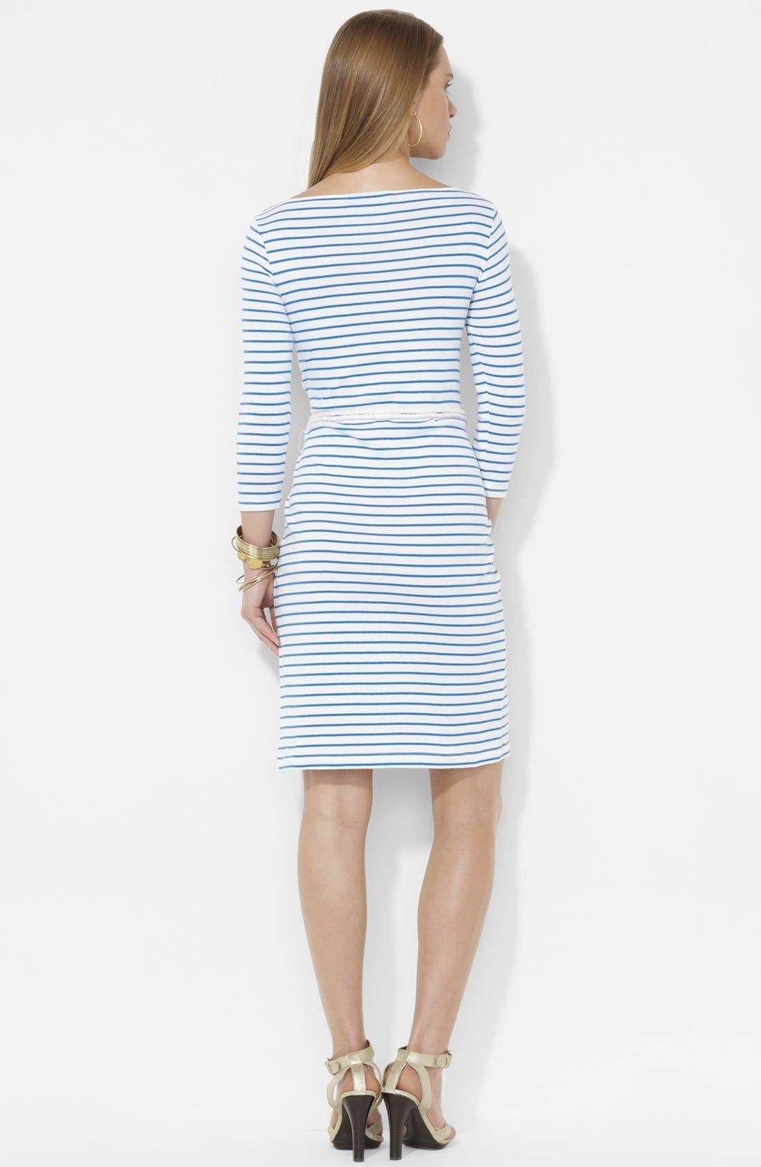 Alternate Image 2  - Lauren Ralph Lauren Lace Trim Stripe Dress
