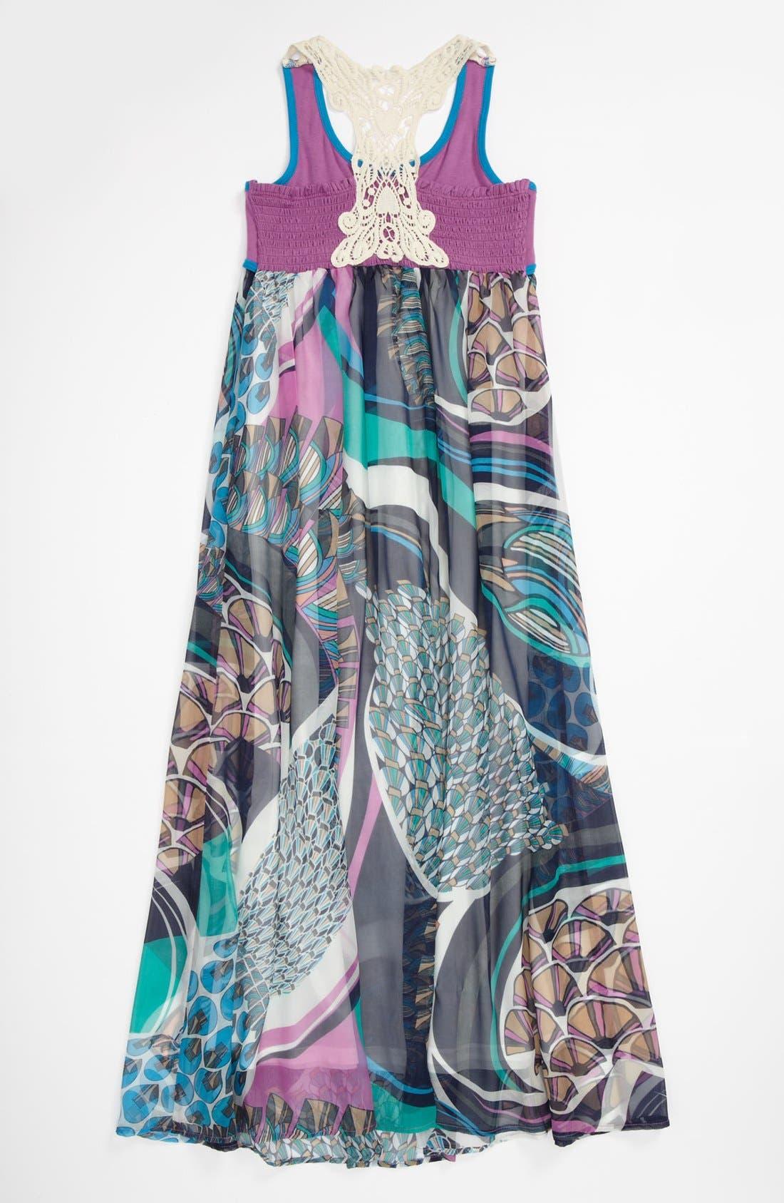 Alternate Image 2  - Truly Me Crochet Maxi Dress (Big Girls)