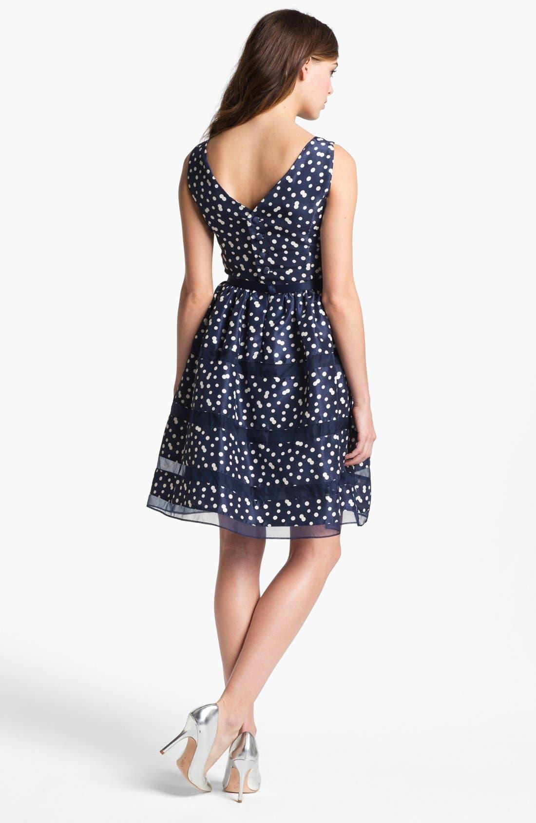 Alternate Image 2  - Taylor Dresses Belted Taffeta Fit & Flare Dress