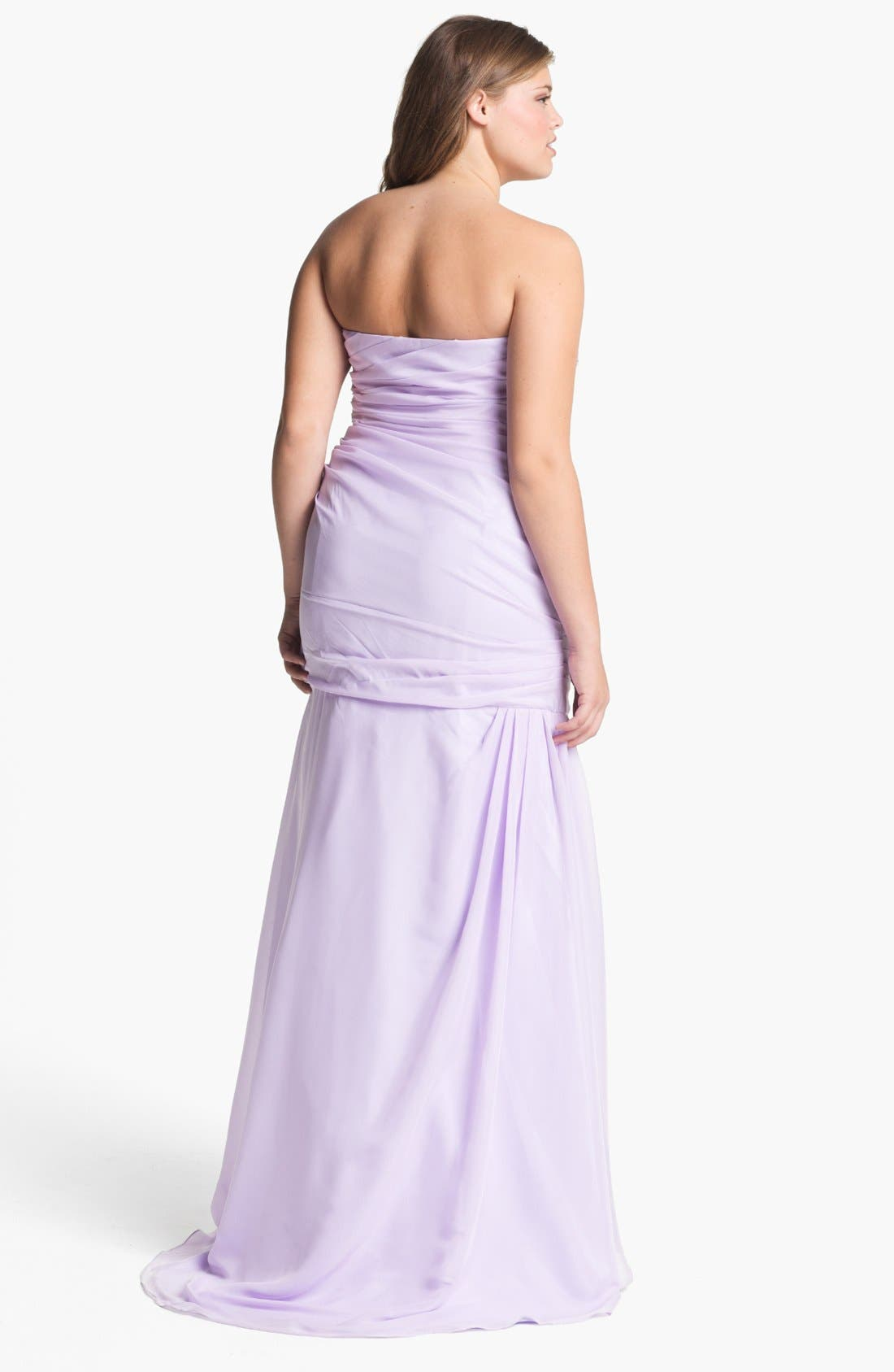 Alternate Image 2  - Dalia MacPhee Strapless Taffeta Trumpet Gown (Juniors Plus)