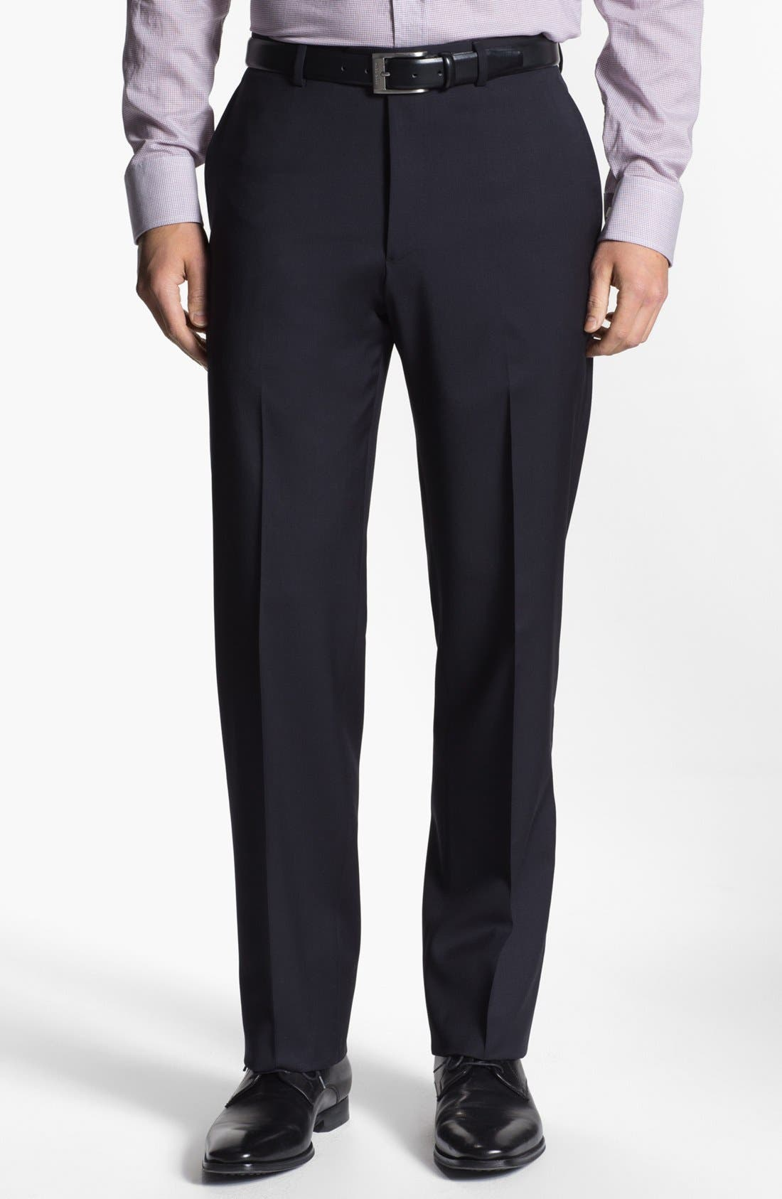 Alternate Image 1 Selected - Armani Collezioni Flat Front Wool Trousers