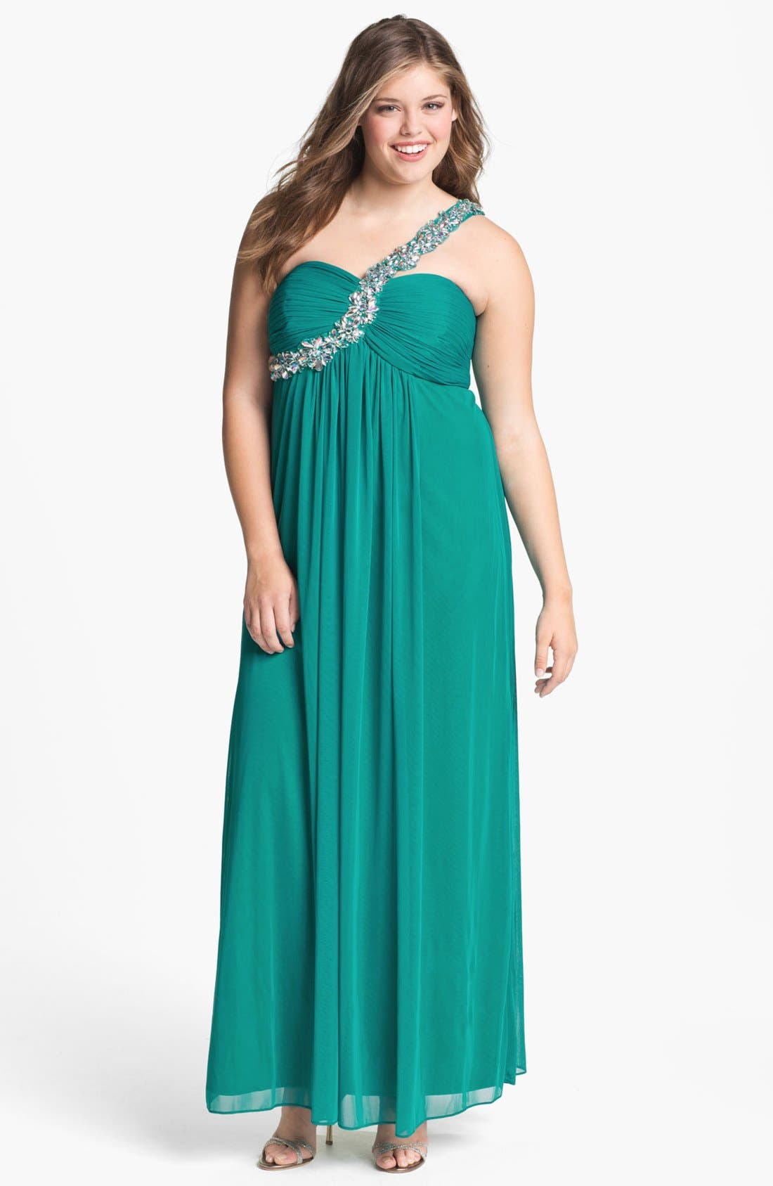 Main Image - Xscape Embellished One Shoulder Gown (Plus Size) (Online Only)