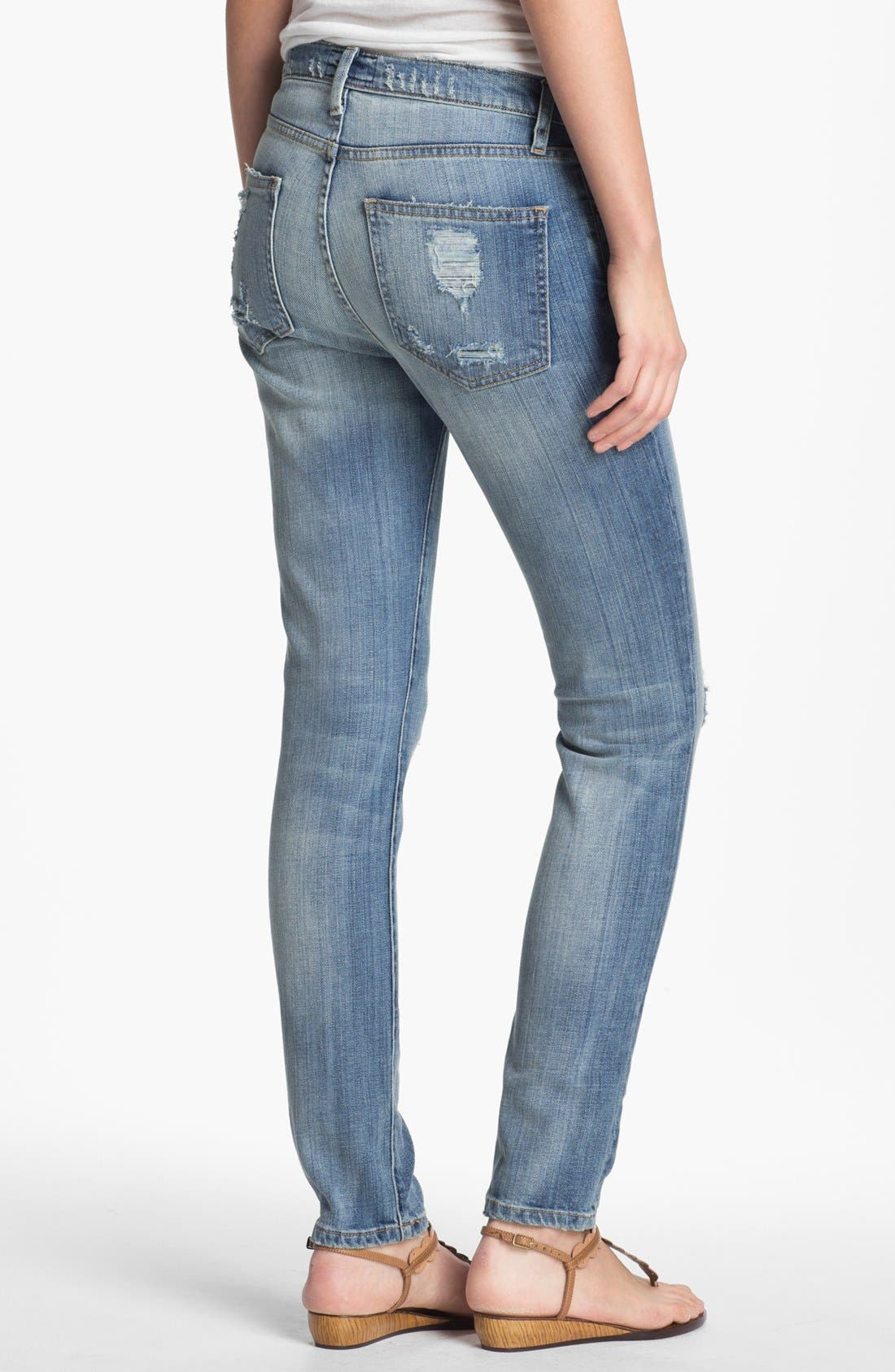 Alternate Image 2  - Current/Elliott 'The Stiletto' Distressed Stretch Jeans (Shipwreck Destroy)