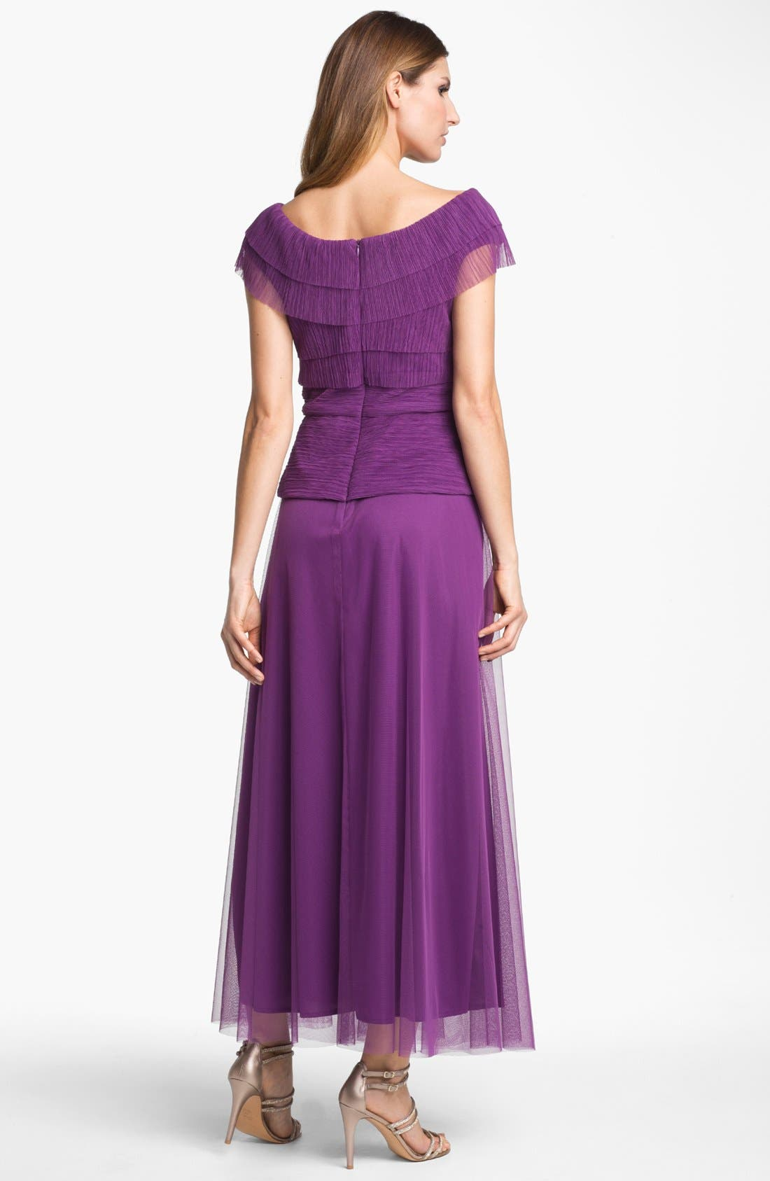 Alternate Image 2  - Patra Pleated Cap Sleeve Gown