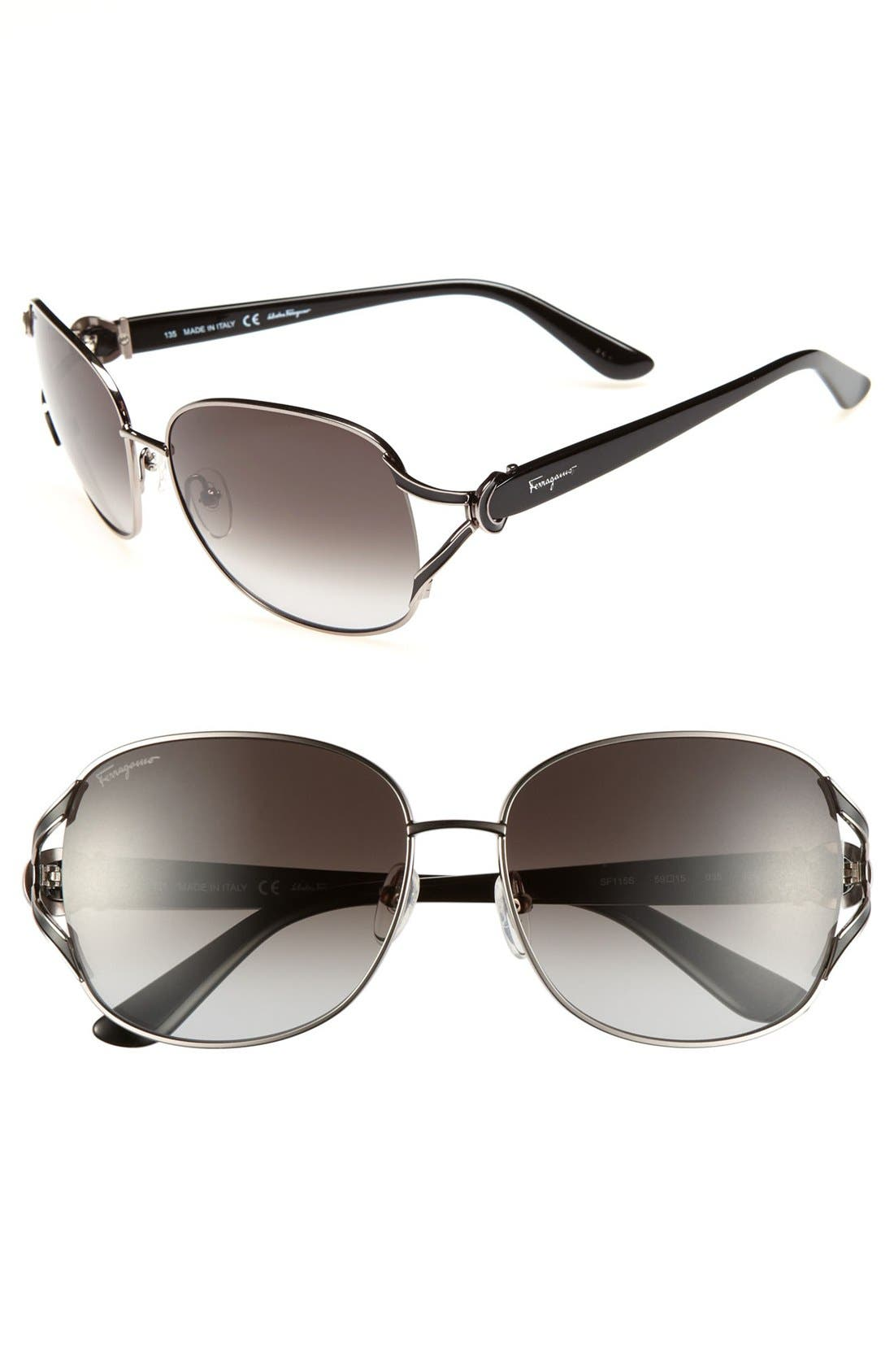 Main Image - Salvatore Ferragamo 59mm Metal Sunglasses