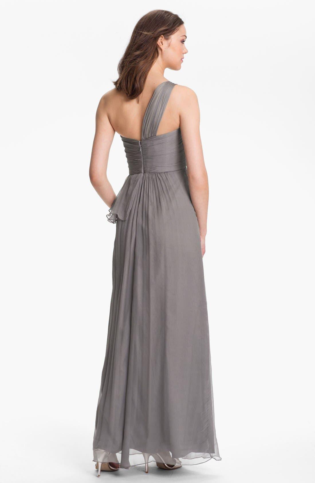 Alternate Image 2  - Amsale One-Shoulder Silk Gown