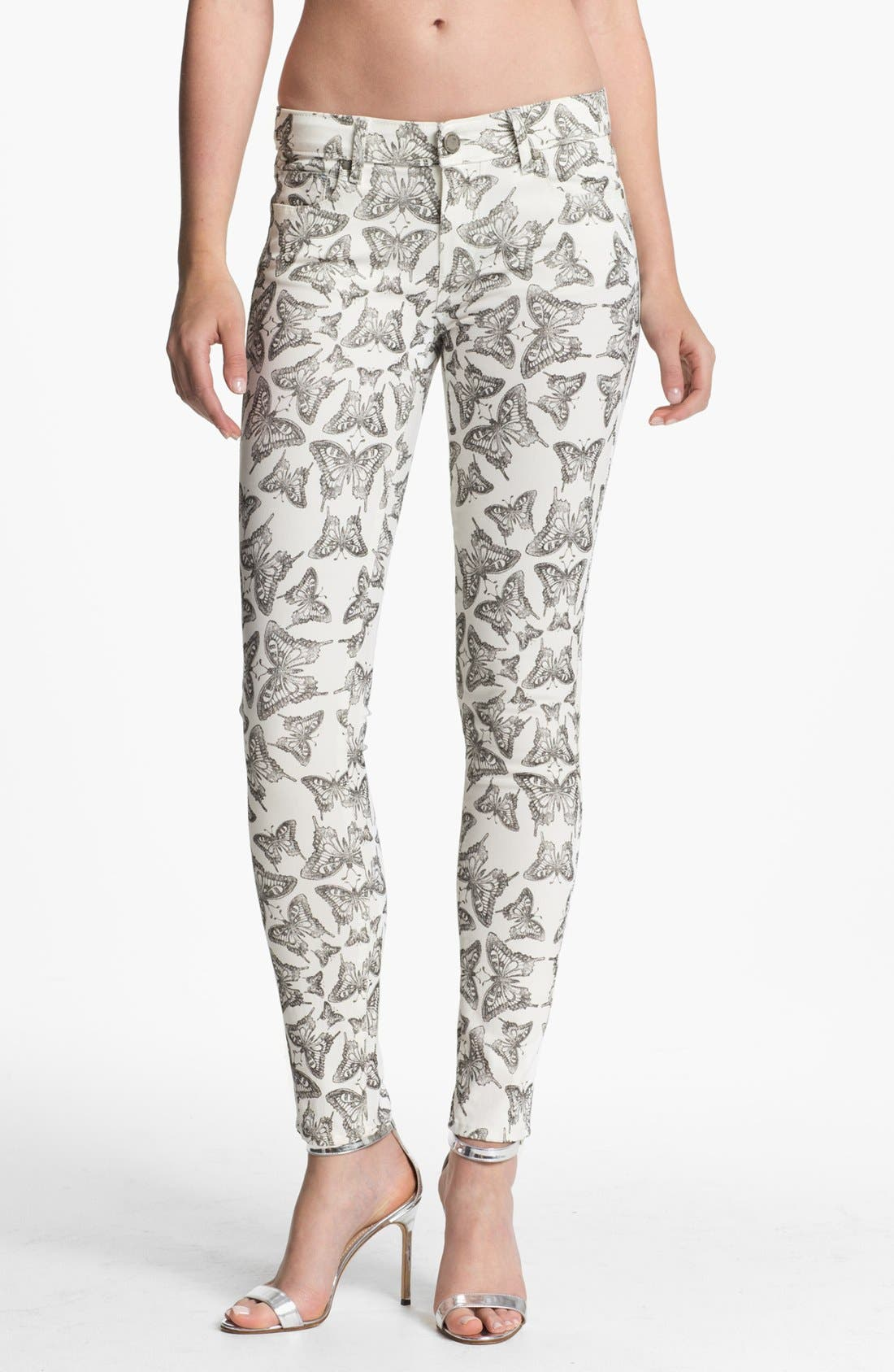Alternate Image 1 Selected - Paige Denim 'Verdugo' Ultra Skinny Jeans (Butterfly Print)