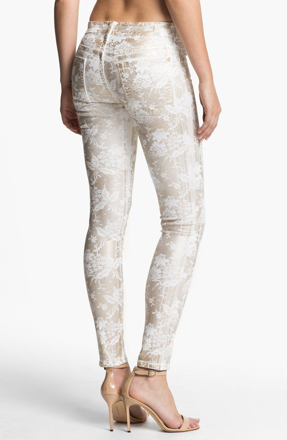 Alternate Image 2  - 7 For All Mankind® 'The Skinny' Print Stretch Jeans (White/Almond Foil)