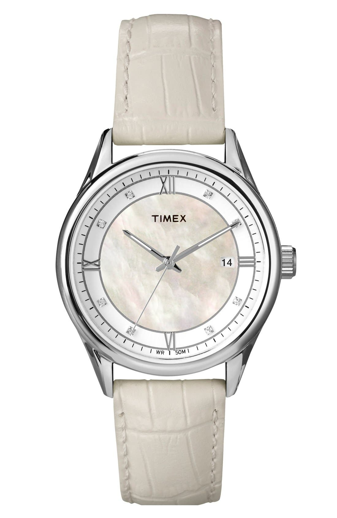 Main Image - Timex® Mother of Pearl Dial Leather Strap Watch, 36mm