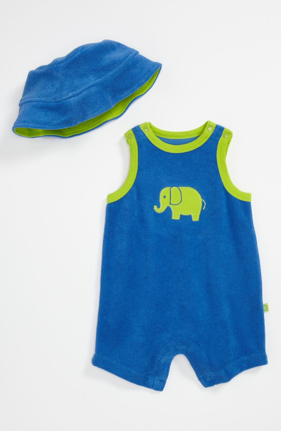 Alternate Image 1 Selected - Offspring 'Strong Elephant' Romper & Hat (Baby)