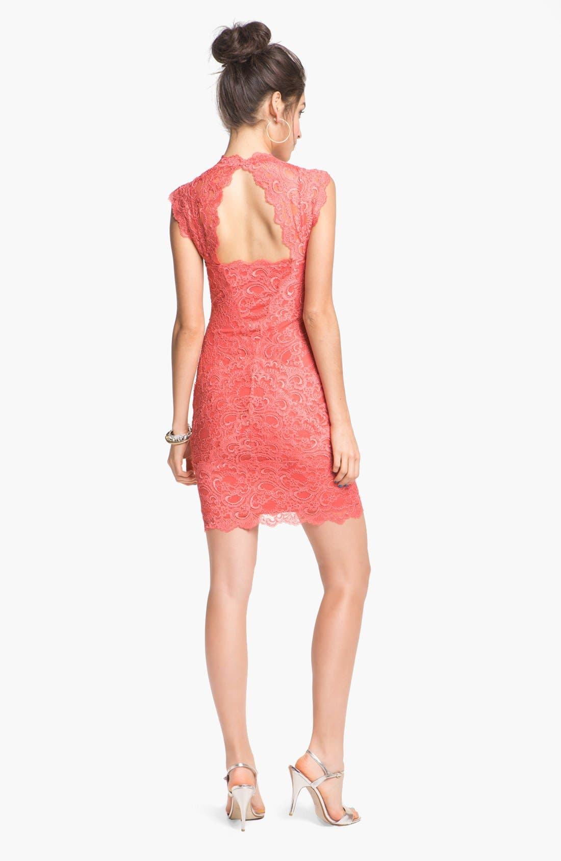 Alternate Image 2  - Nicole Miller Lace Fitted Cap Sleeve Lace Sheath Dress
