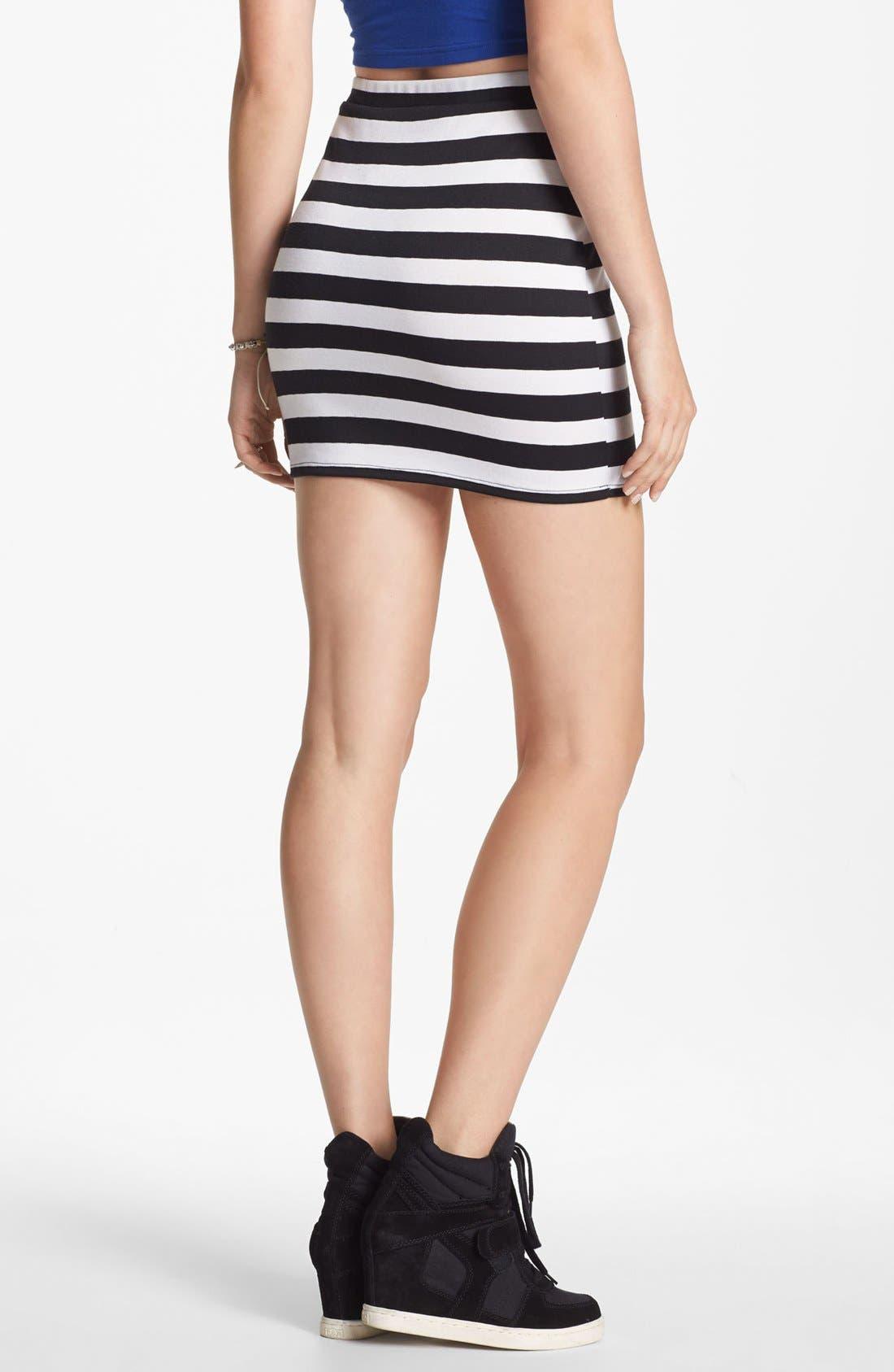 Alternate Image 2  - Soprano Mod Stripe Body-Con Skirt (Juniors)