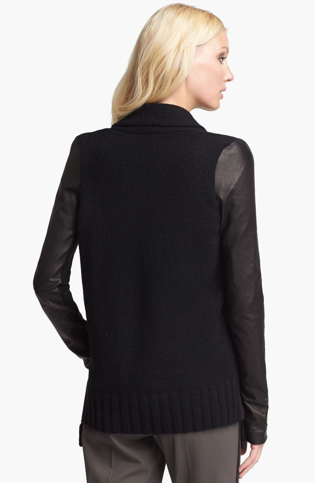 Alternate Image 2  - Vince Leather Sleeve Cardigan