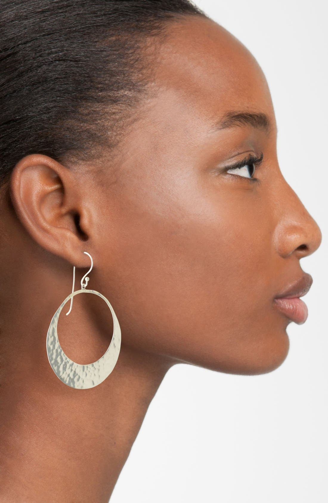 Alternate Image 2  - Argento Vivo Hammered Crescent Frontal Hoop Earrings