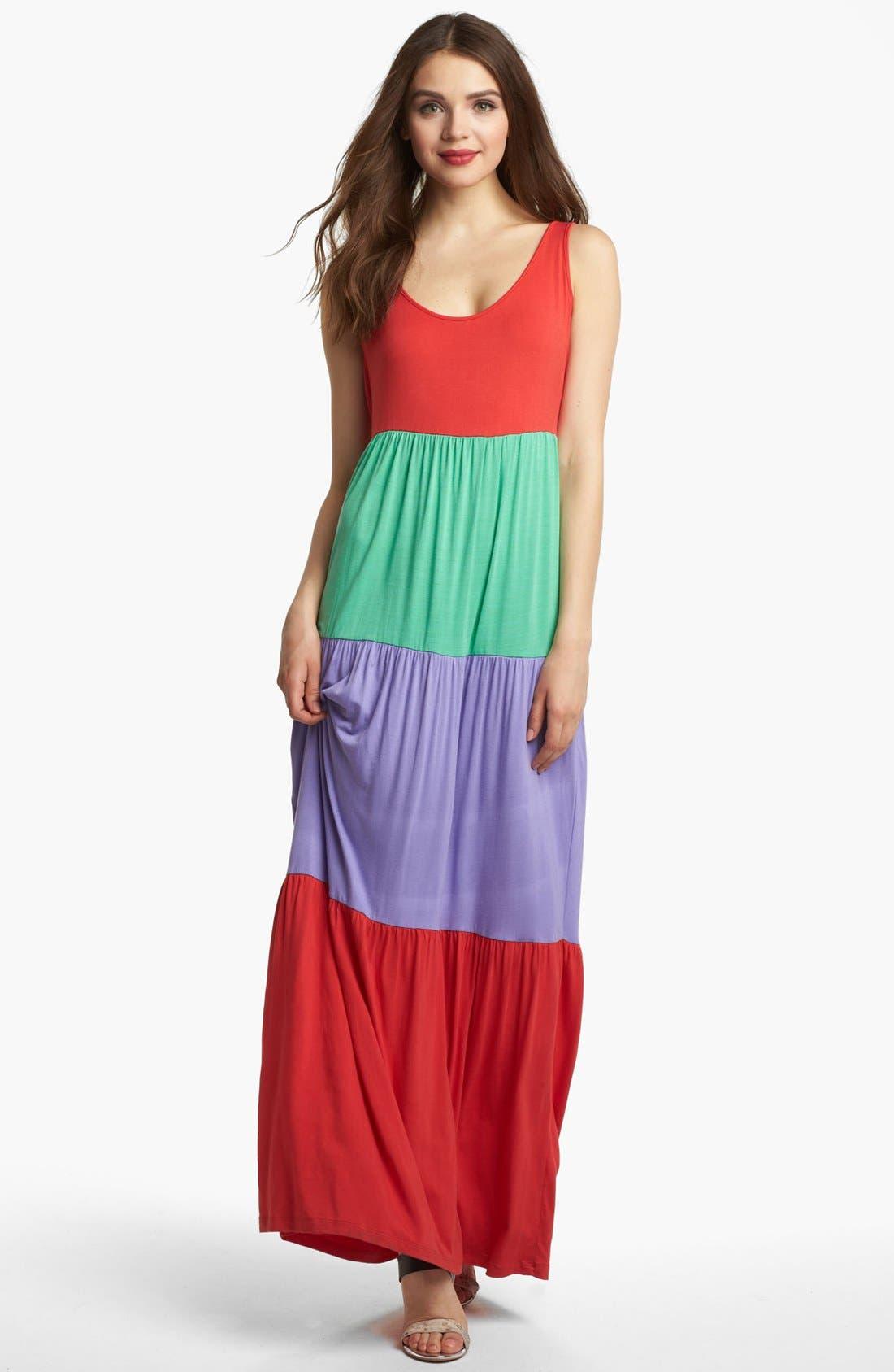 Alternate Image 1 Selected - Kensie Colorblock Maxi Dress