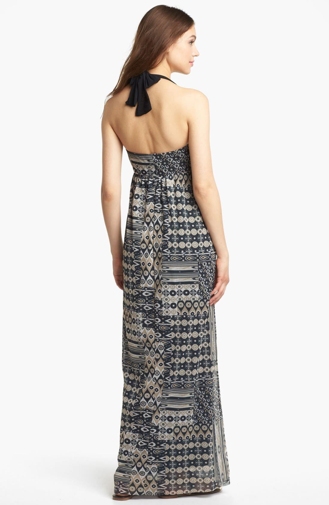 Alternate Image 2  - Sweet Pea by Stacy Frati Mix Print Halter Maxi Dress