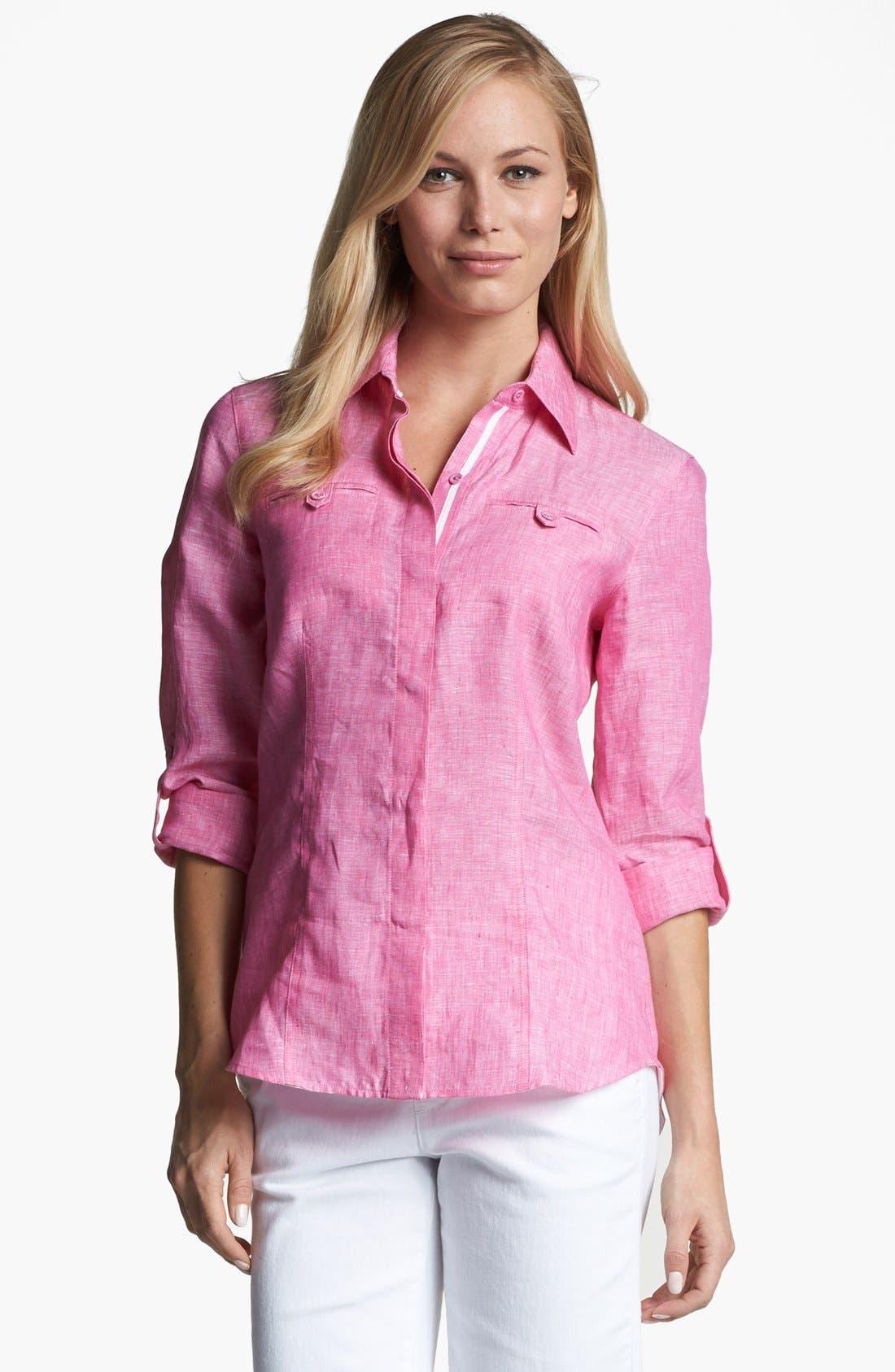 Alternate Image 1 Selected - Foxcroft Roll Sleeve Linen Shirt
