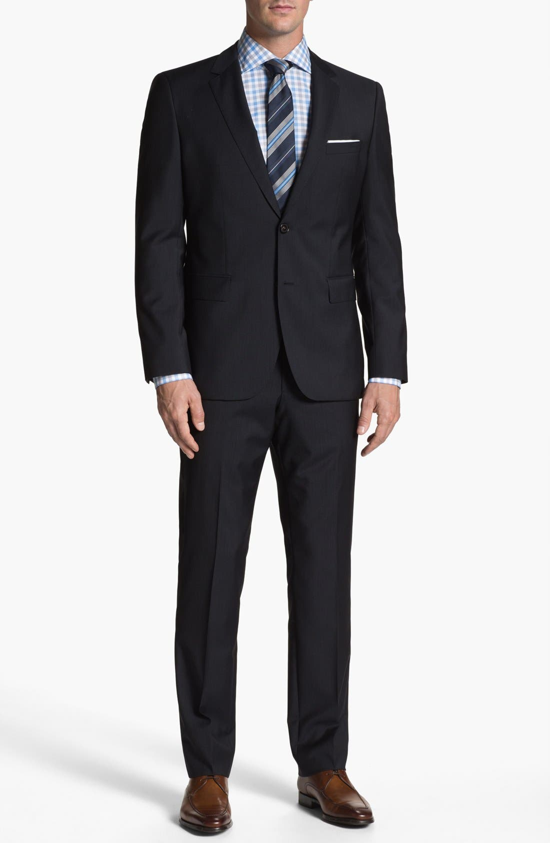 Alternate Image 1 Selected - BOSS HUGO BOSS 'James/Sharp' Trim Fit Stripe Suit