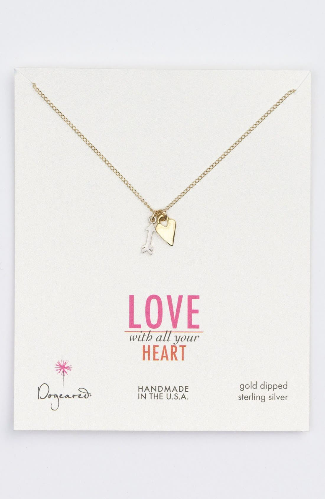 Main Image - Dogeared Heart & Cupid's Arrow Cluster Pendant Necklace (Nordstrom Exclusive)