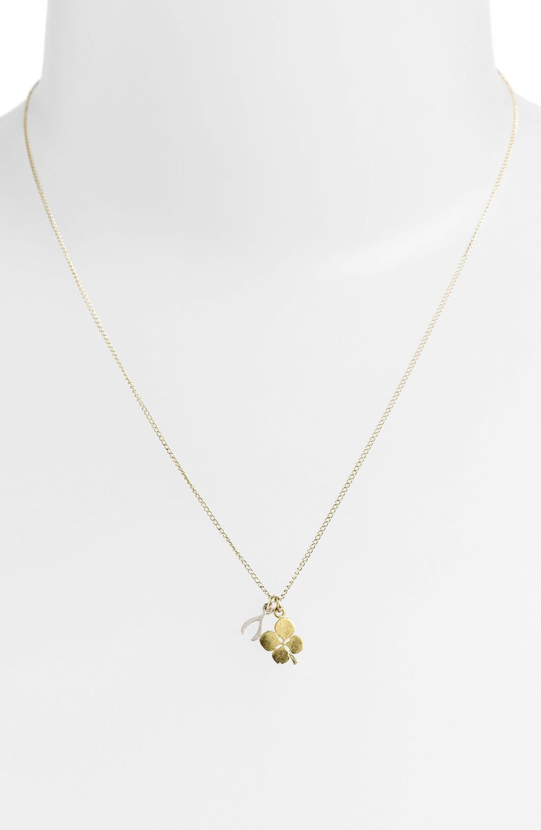 Alternate Image 2  - Dogeared Clover & Wishbone Cluster Pendant Necklace (Nordstrom Exclusive)