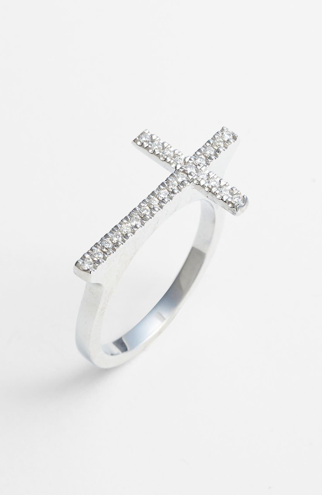 Main Image - Bony Levy Diamond Cross Ring (Nordstrom Exclusive)