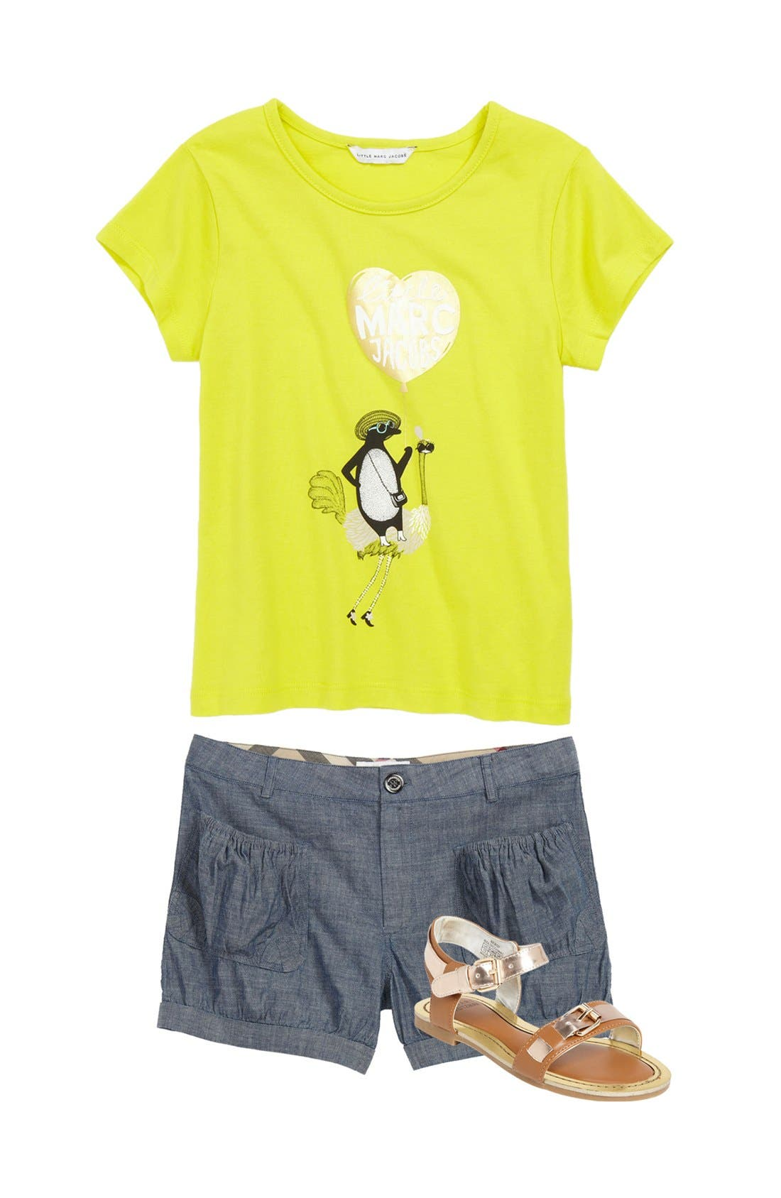 Main Image - LITTLE MARC JACOBS Tee, Burberry Shorts & Stuart Weitzman Sandal (Little Girls & Big Girls)
