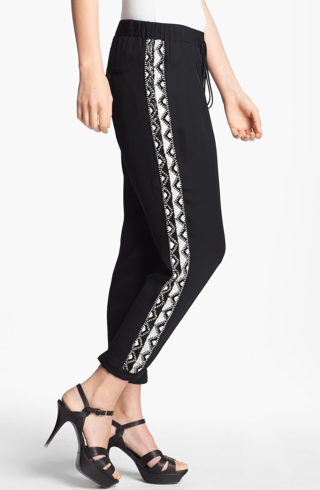 Alternate Image 3  - Haute Hippie Beaded Silk Trousers