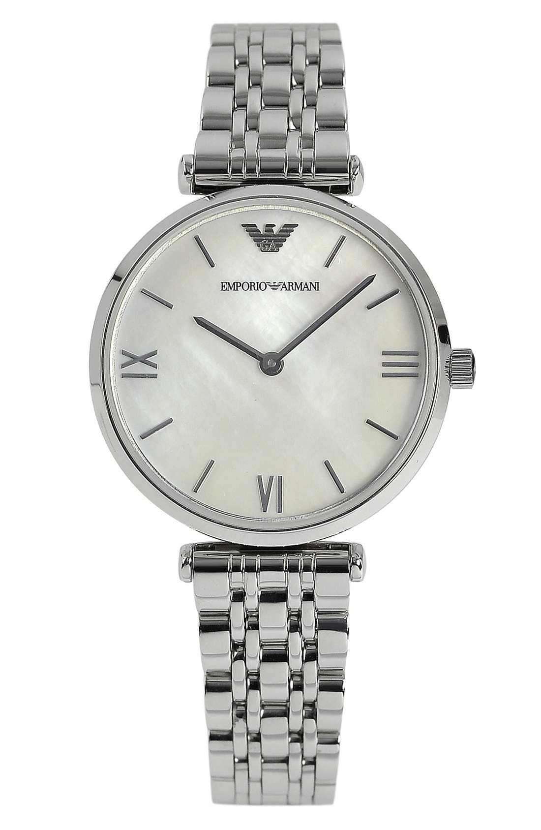 Alternate Image 1 Selected - Emporio Armani Small Round Bracelet Watch, 32mm
