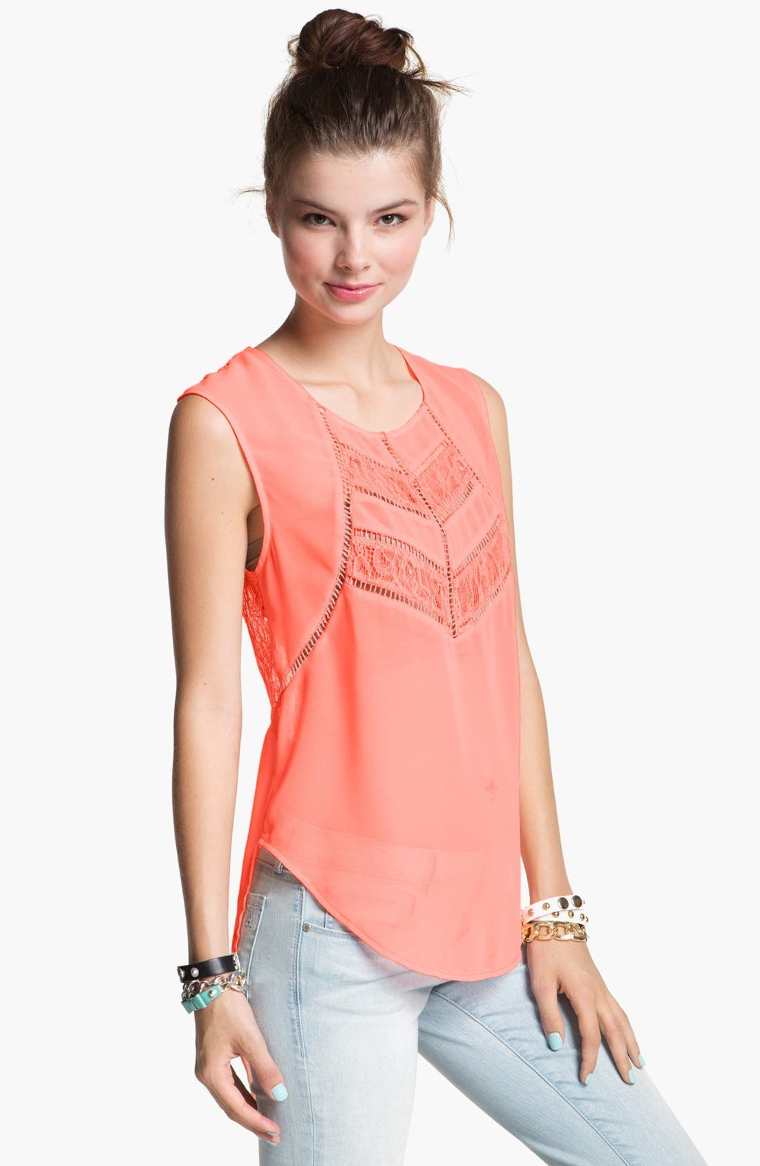Alternate Image 1 Selected - Lush Lace Trim High/Low Tank (Juniors)