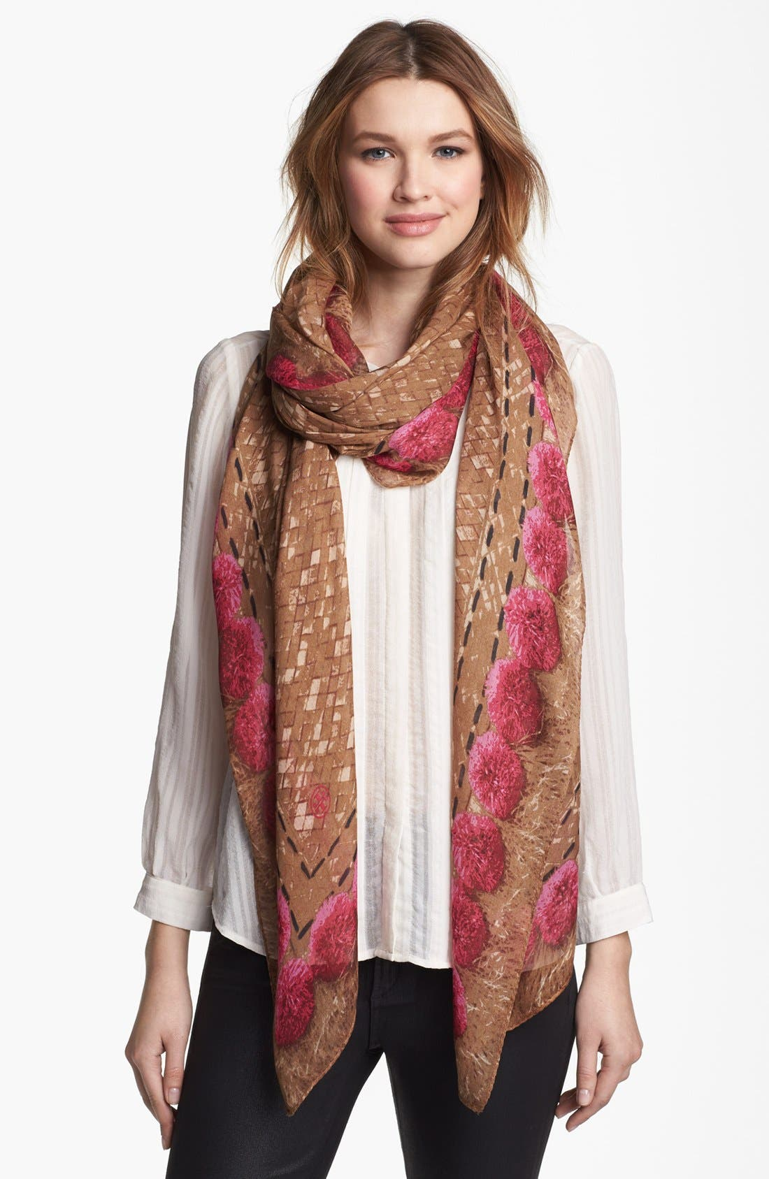 Alternate Image 1 Selected - Tory Burch 'Pompom Rattan' Print Scarf