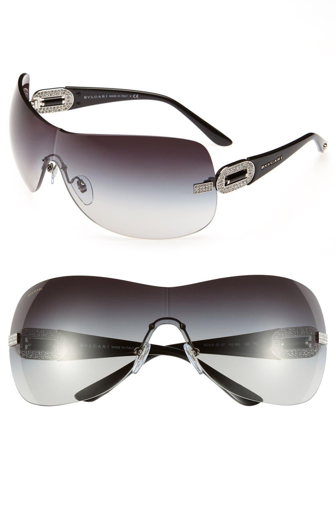 Alternate Image 1 Selected - BVLGARI Embellished Temple Rimless Shield Sunglasses