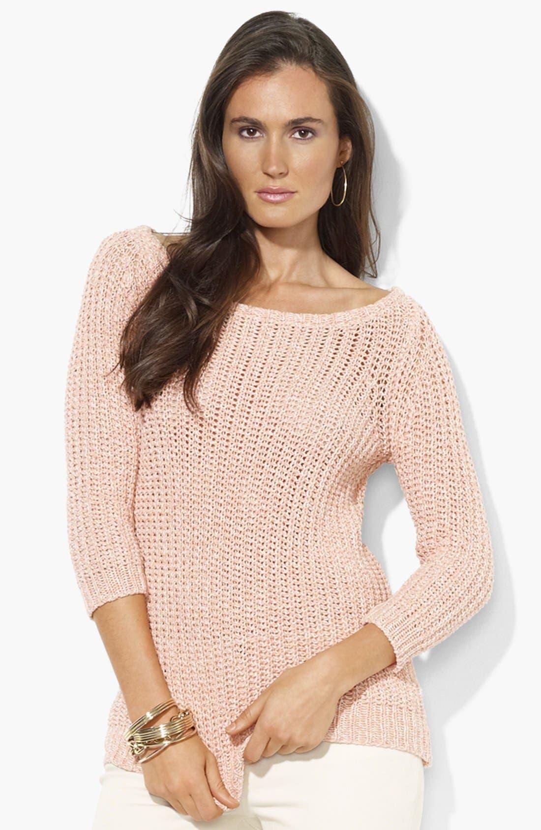 Alternate Image 1 Selected - Lauren Ralph Lauren Bateau Neck Cotton Sweater