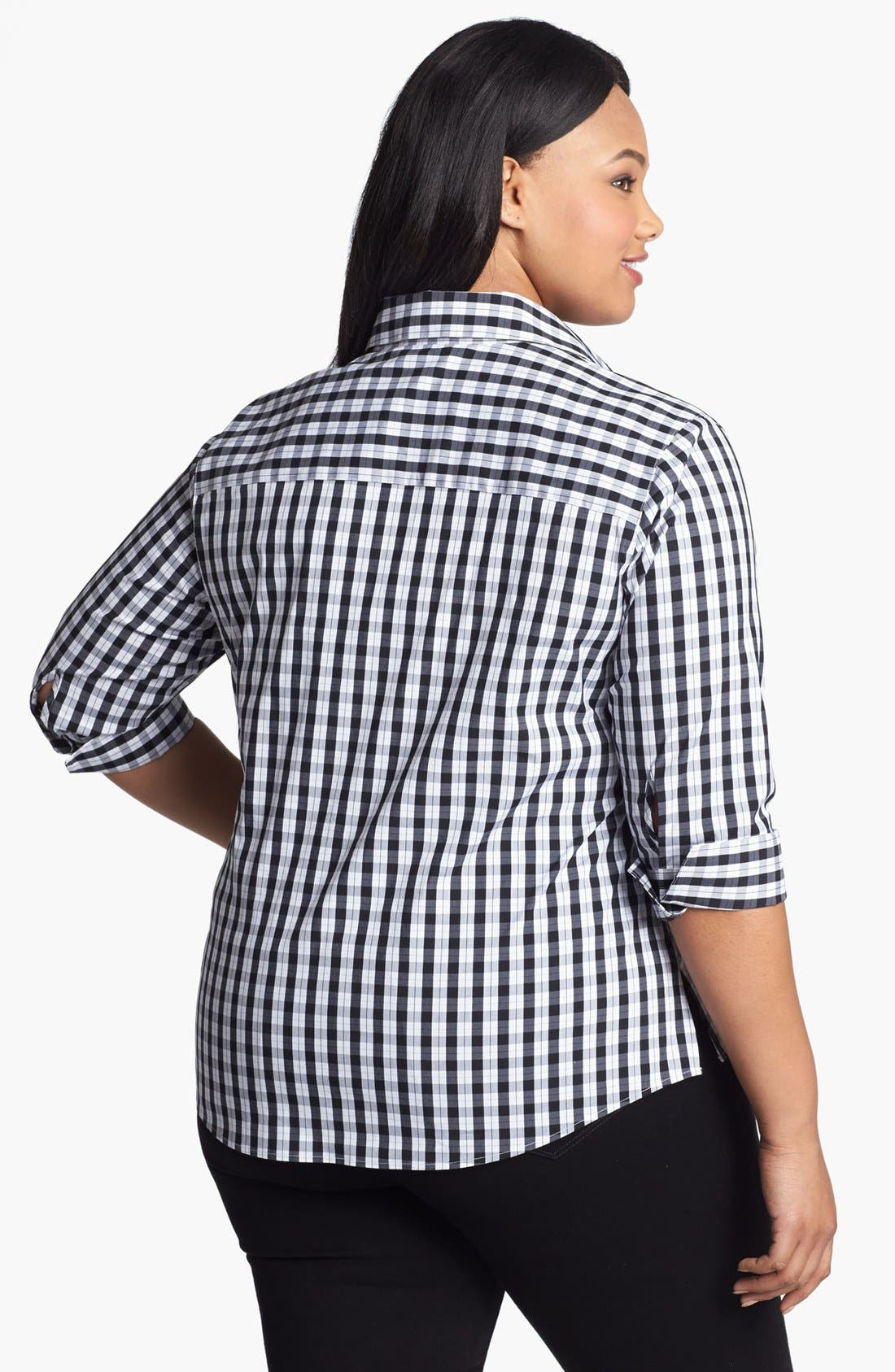 Alternate Image 2  - Foxcroft Print Shaped Shirt (Plus Size)