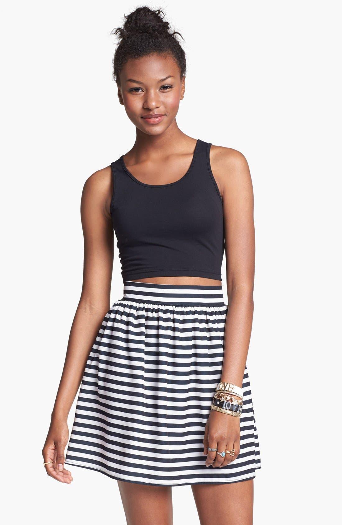 Alternate Image 1 Selected - Living Doll Stripe Skater Skirt (Juniors) (Online Only)