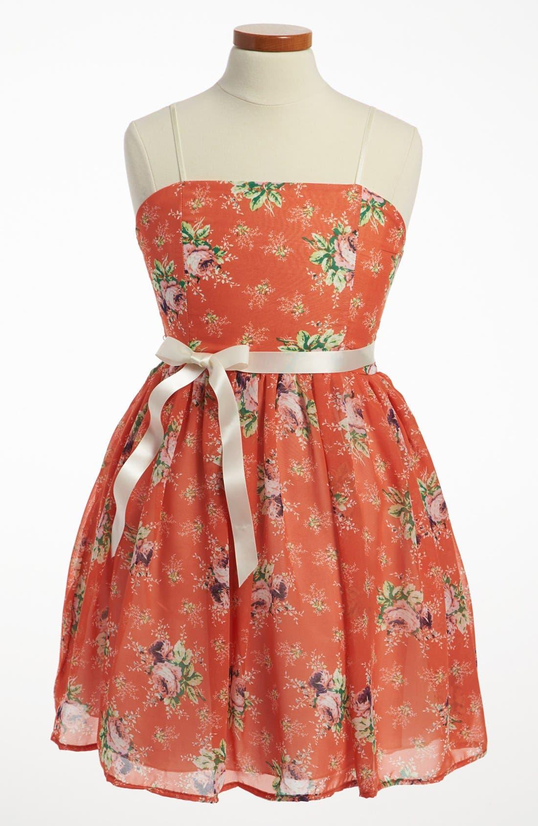 Main Image - Un Deux Trois Floral Chiffon Dress (Big Girls)