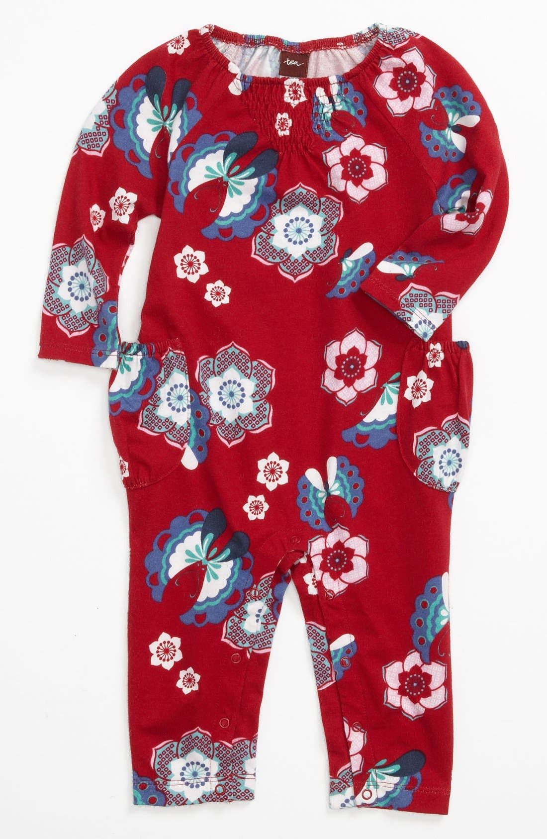 Main Image - Tea Collection 'Butterfly Floral' Coveralls (Baby Girls)