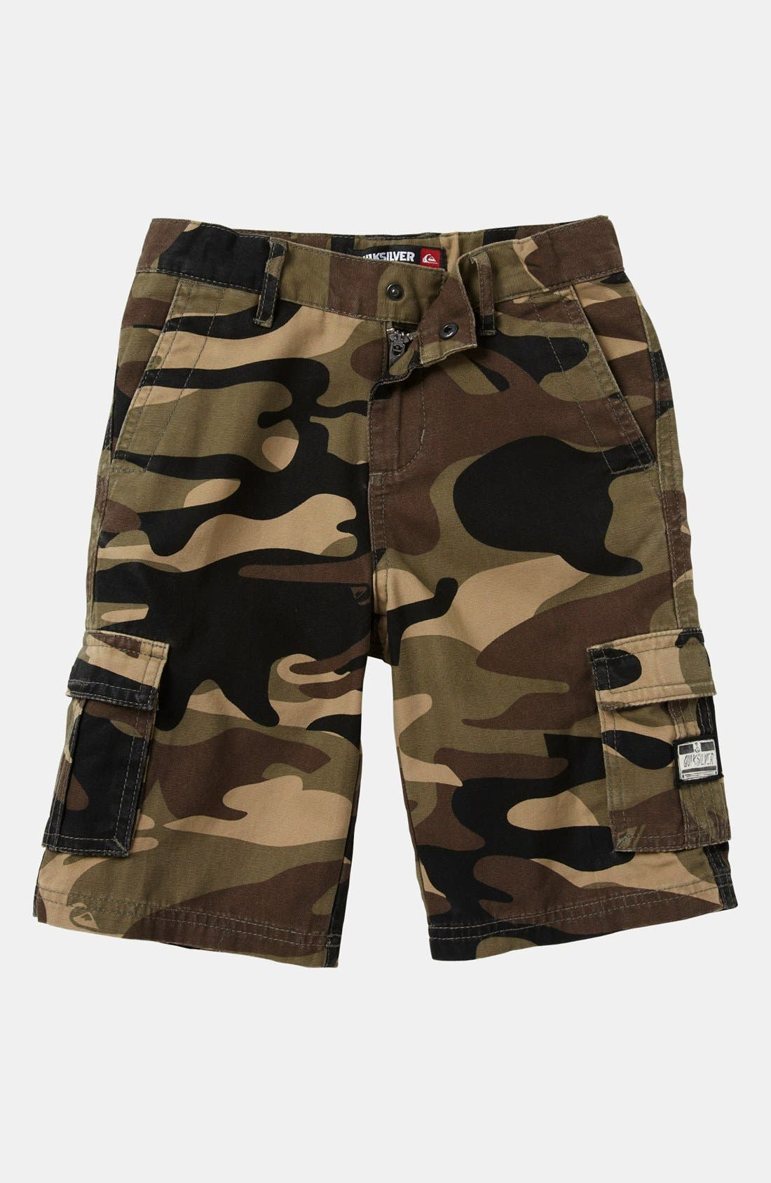 Main Image - Quiksilver 'Sue Fley' Camo Cargo Shorts (Toddler)