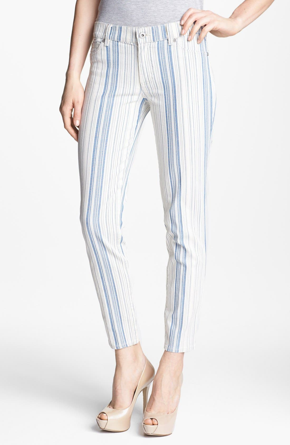 Alternate Image 1 Selected - Two by Vince Camuto Variegated Stripe Zip Leg Jeans