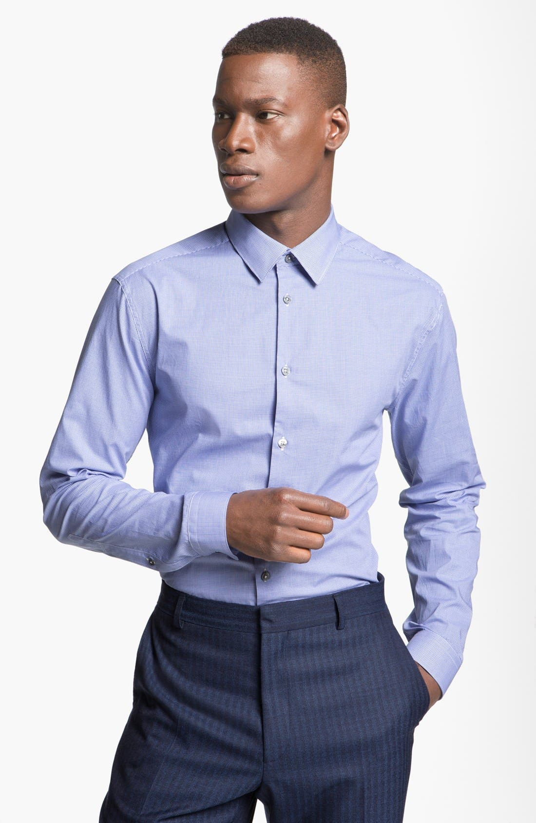 Alternate Image 1 Selected - Paul Smith London Slim Fit Microcheck Dress Shirt
