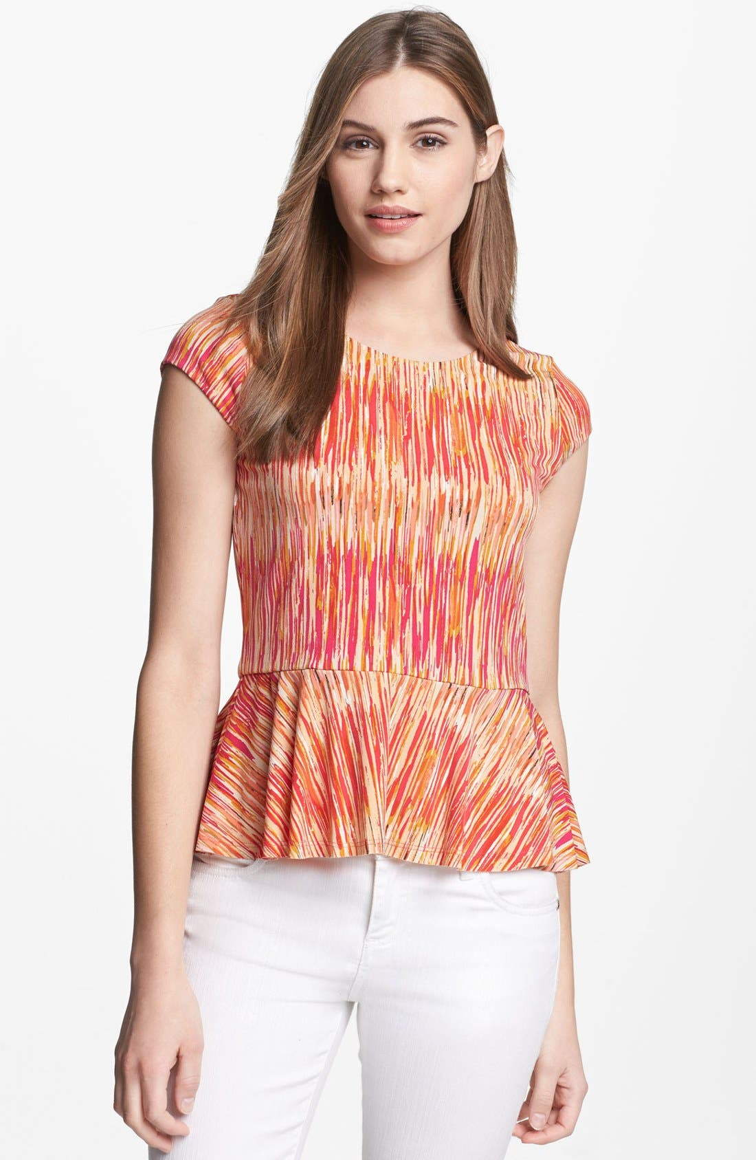 Alternate Image 1 Selected - Vince Camuto Print Peplum Top