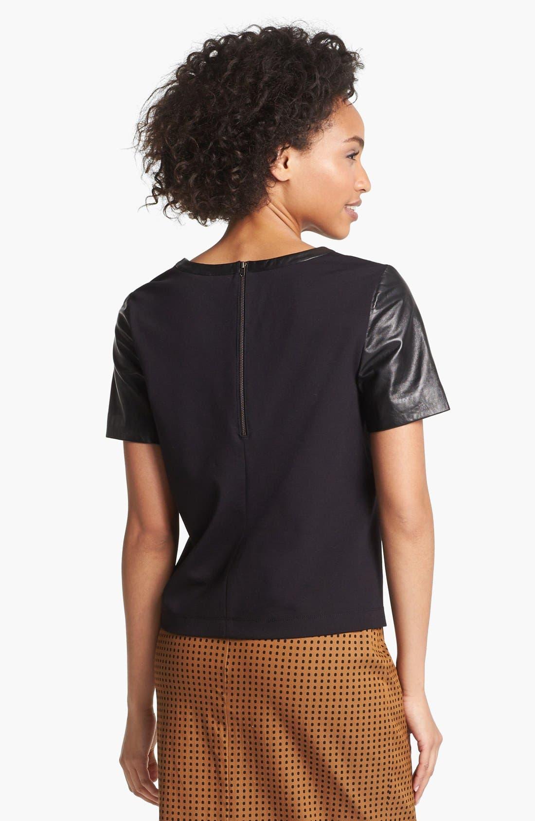 Alternate Image 4  - Halogen® Leather Front Top (Regular & Petite)