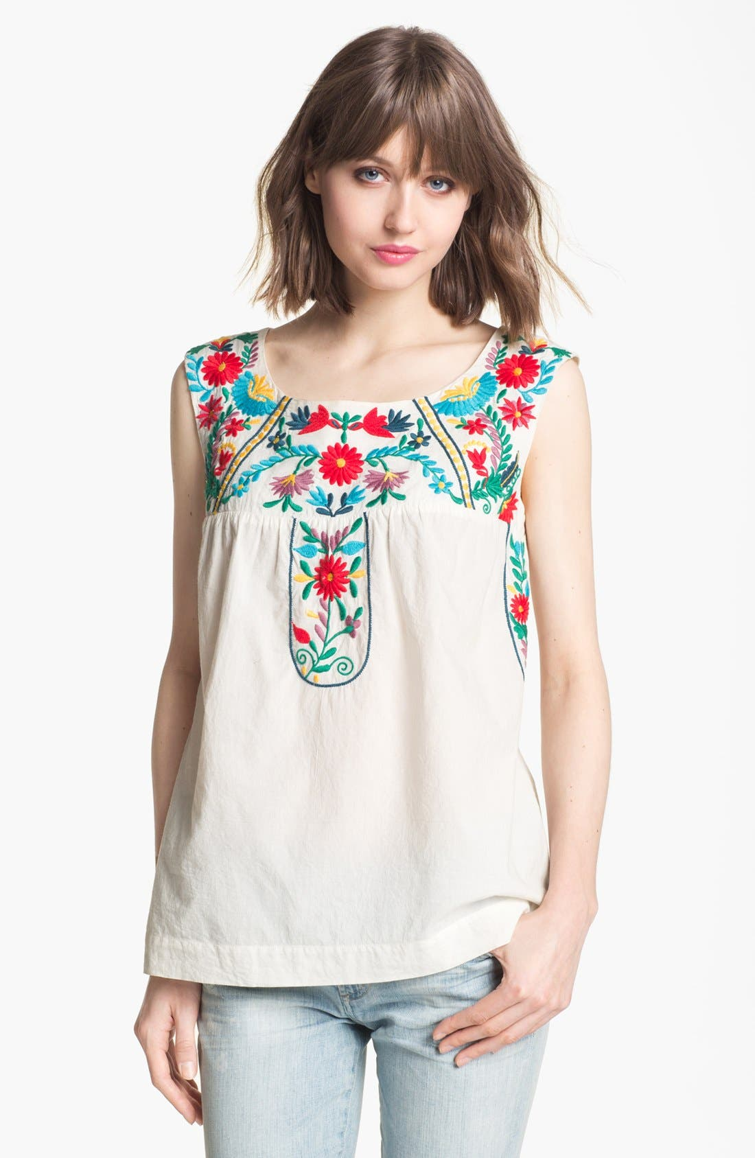 Main Image - Willow & Clay Embroidered Peasant Tank