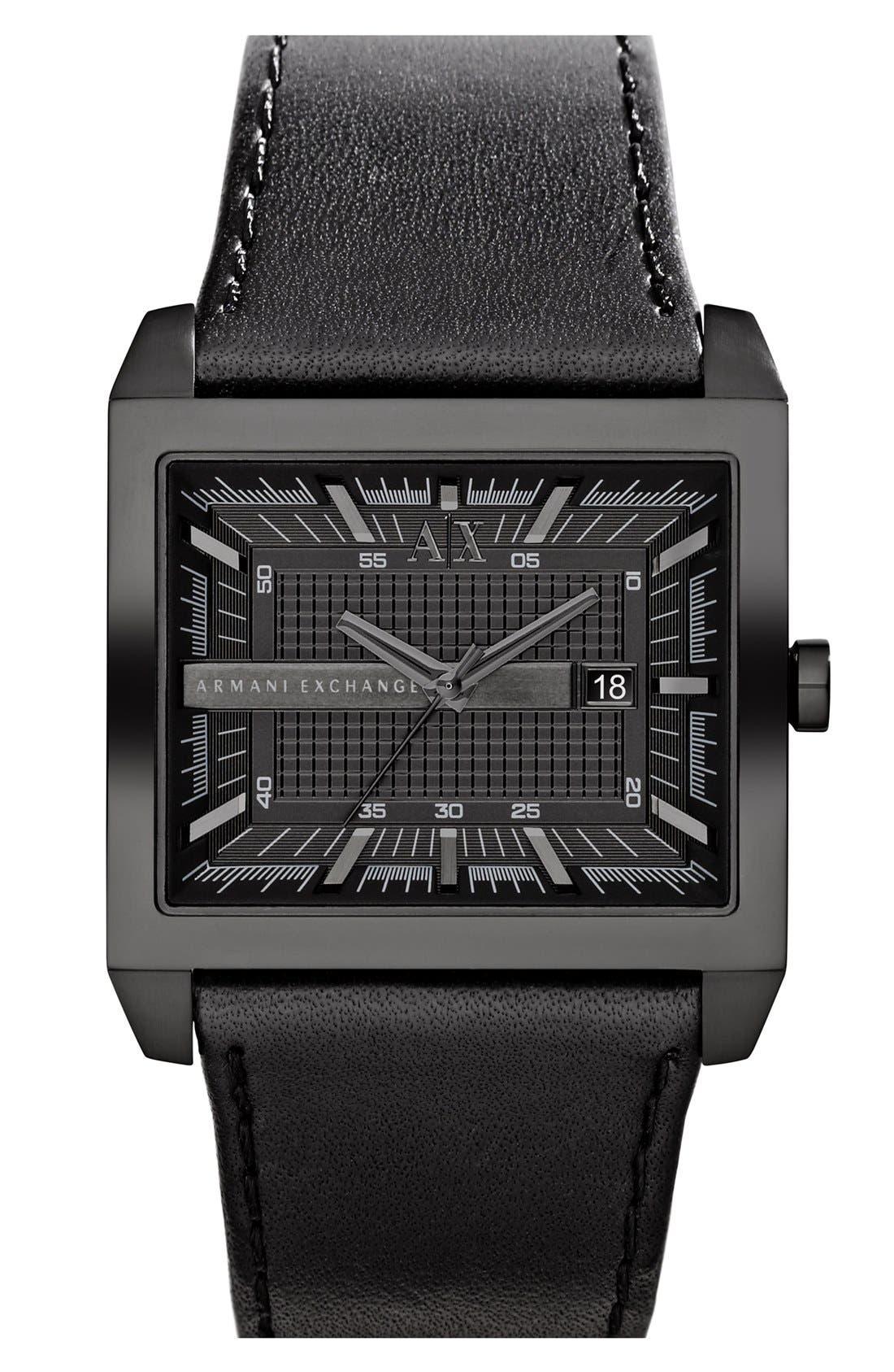 Main Image - AX Armani Exchange Rectangular Leather Strap Watch, 43mm x 36mm