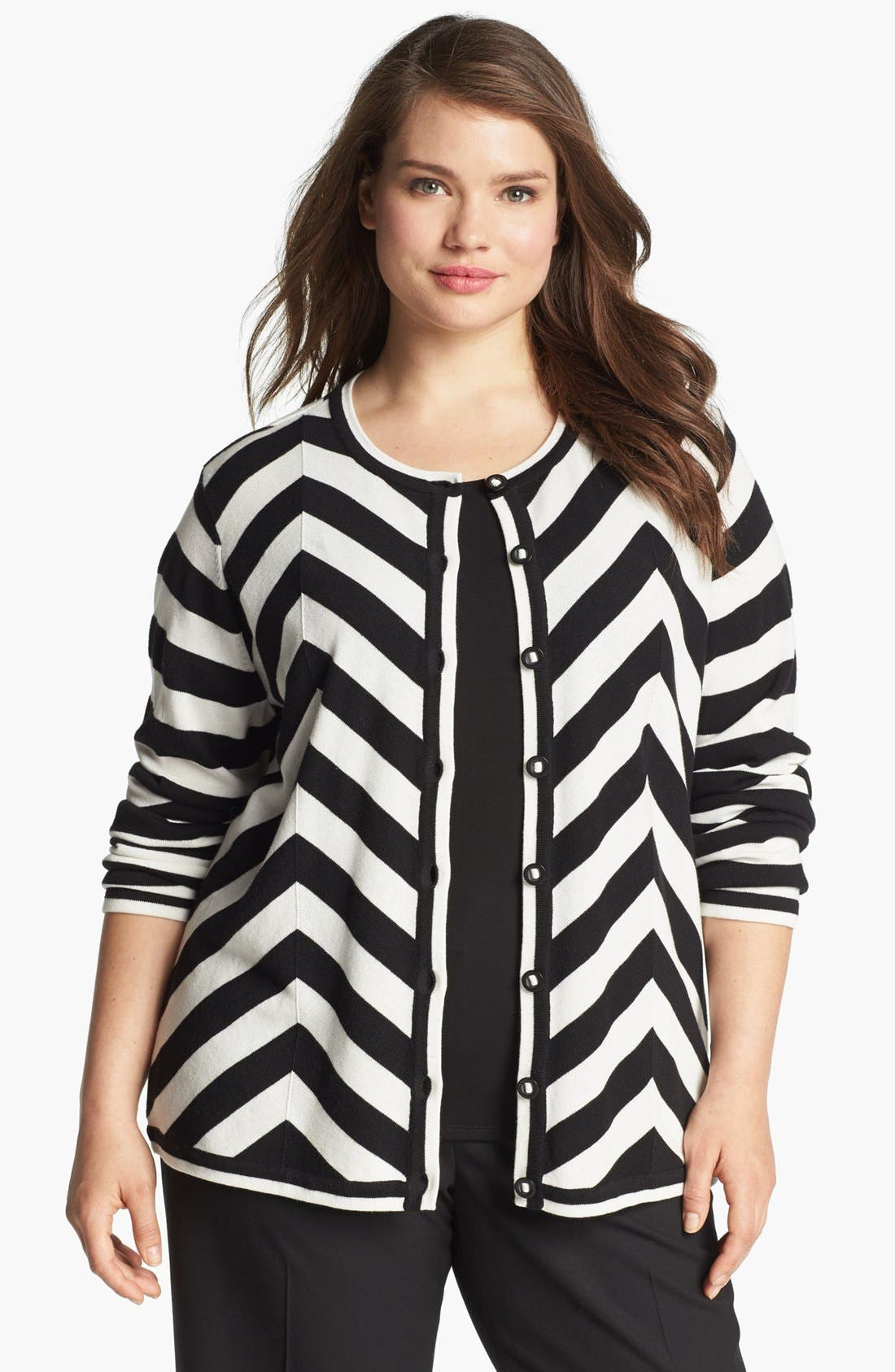 Alternate Image 1 Selected - Foxcroft Chevron Stripe Cardigan (Plus Size) (Online Only)