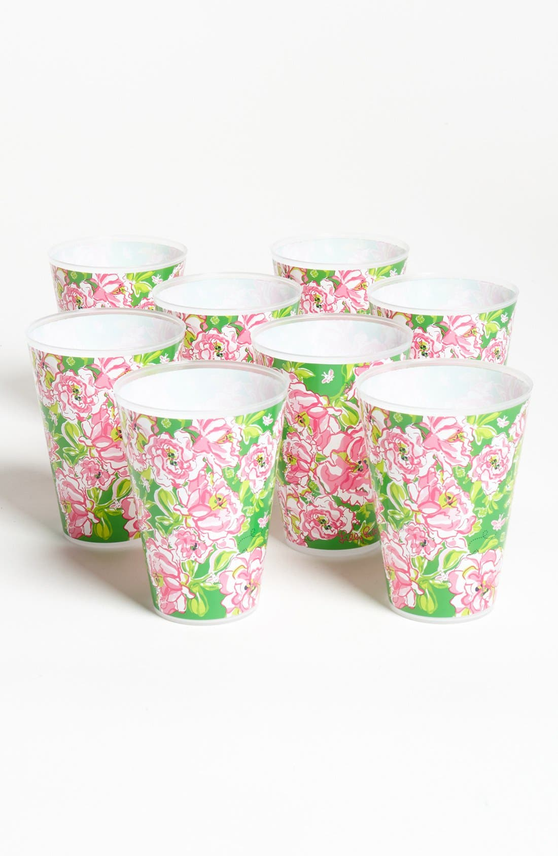 Alternate Image 1 Selected - Lilly Pulitzer® Floral Print Reusable Party Tumblers (Set of 8)