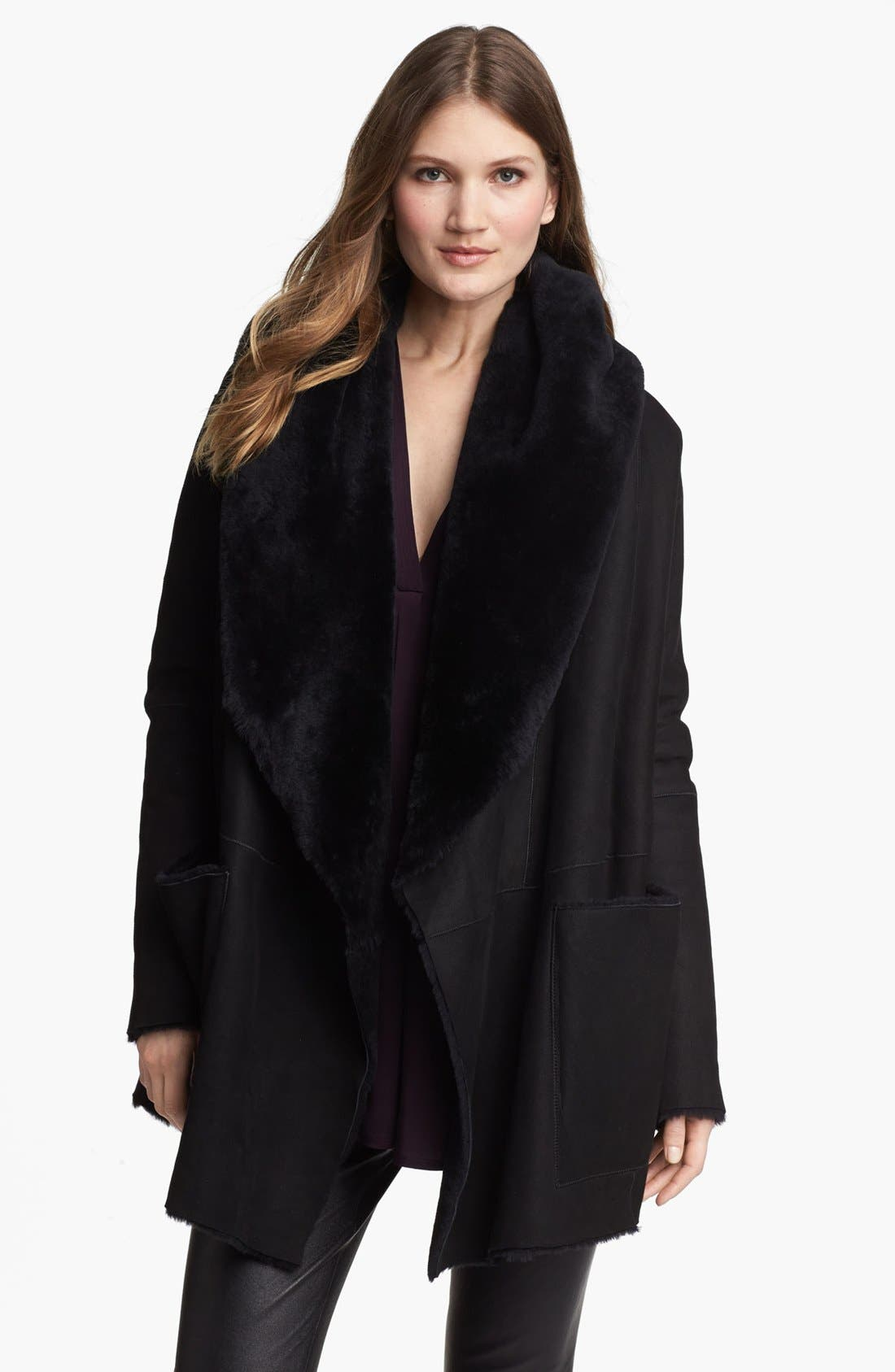 Main Image - Vince Genuine Shearling Open Front Coat