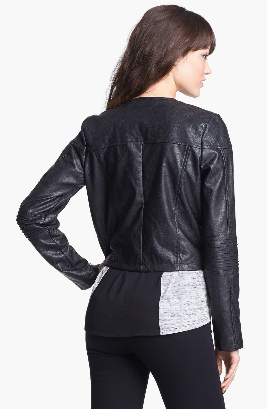 Alternate Image 3  - Jou Jou Studded Faux Leather Crop Moto Jacket (Juniors)