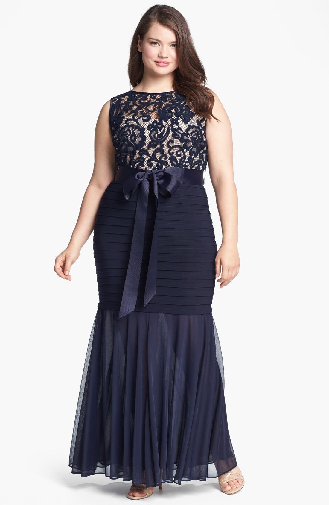 Alternate Image 1 Selected - Betsy & Adam Lace Banded Mermaid Gown (Plus Size)