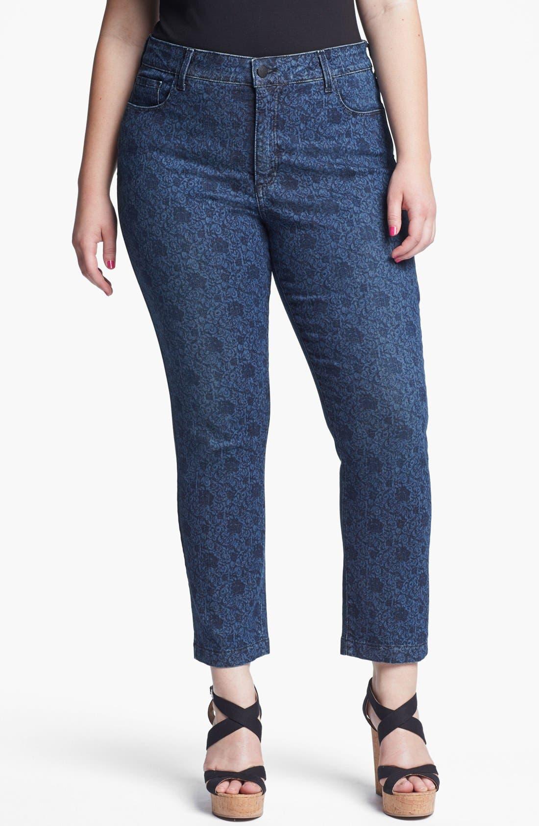 Main Image - NYDJ 'Audrey' Rose Print Ankle Jeans (Plus Size)